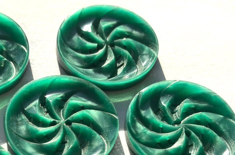 6 Swirly Silvery Green Vintage Casein  2.2cm Buttons
