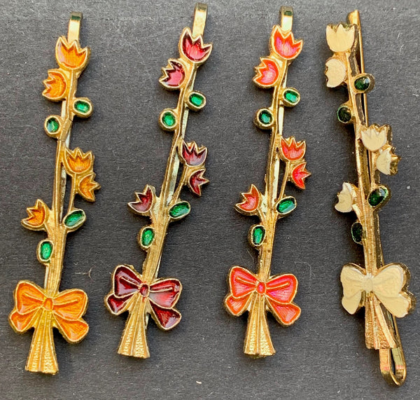 Happy Vintage Enamel Flowers and Bows Hairclips
