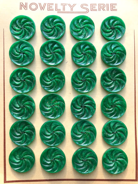 Dynamic Vintage Casein Swirly Jade Green Buttons 1.7cm or 2.2cm