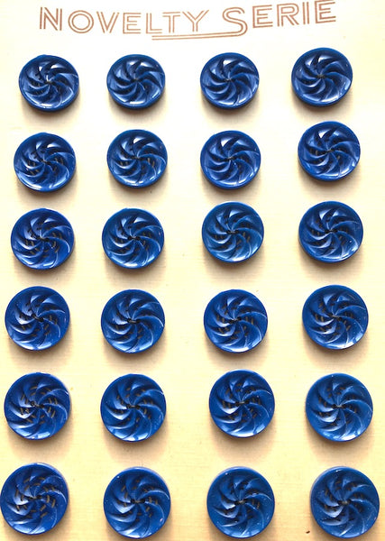 Sapphire Blue Vintage 1930s Casein Energetic Swirly Buttons 1.7cm or 2.2cm