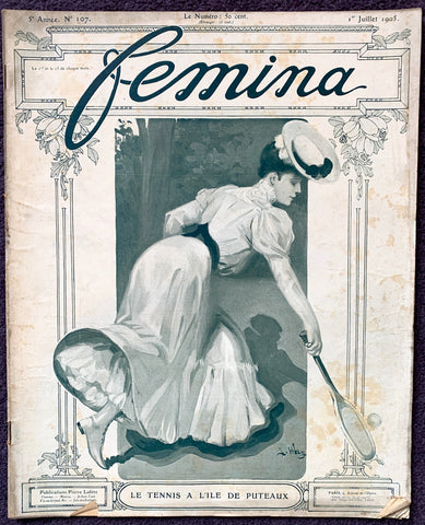 July 1905 French Magazine FEMINA Lots of Gorgeous Illustrations, Fashion, Adverts