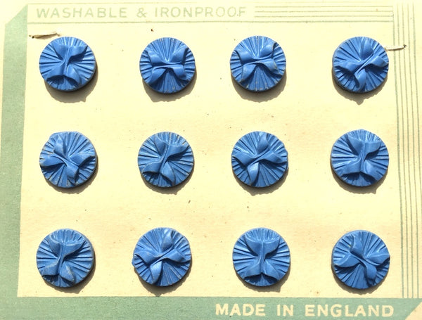 12  Soft Blue English 1940s Catalin Bow Buttons - 1.4cm wide
