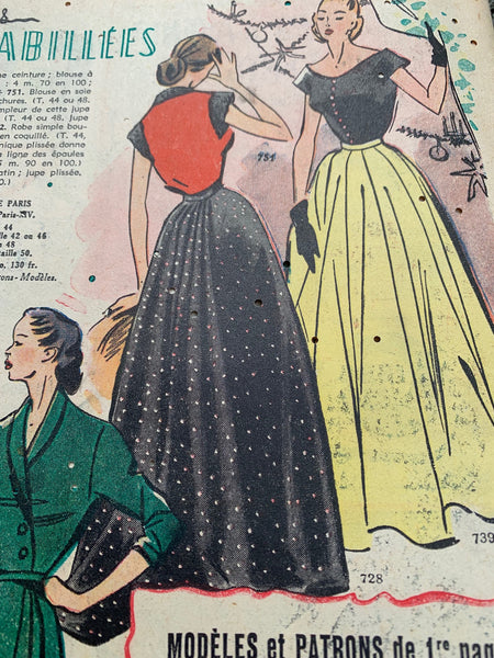 2 Copies of Christmas 1951 French Fashion Paper Le Petit Echo de la Mode - Perfect for Mixed Media and Art Projects