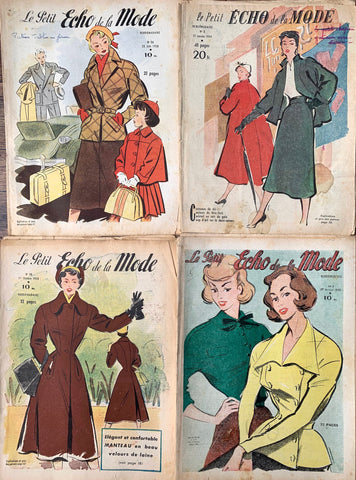 4 Copies of 1950s French Fashion Paper Le Petit Echo de la Mode - Ideal for Art projects