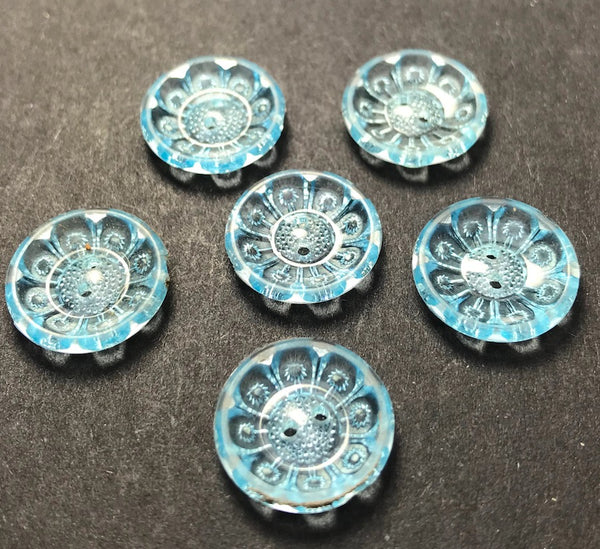 Lovely Shimmery Pale Blue Vintage Buttons - Different sizes and quantities 12mm -20mm