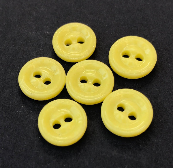 6 Buttercup Yellow 12mm Vintage Glass Buttons