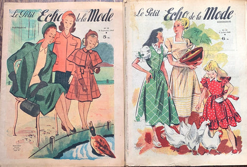 2 Copies of 1947 and 1948 French Fashion Paper Le Petit Echo de la Mode
