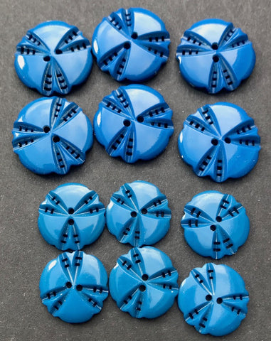 6 Exciting Teal Blue 1930s Casein 1.7cm or 2cm Buttons