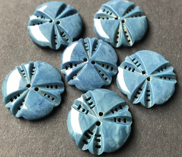 6 Unusual Petrol Blue 1940s French  2cm Casein Buttons