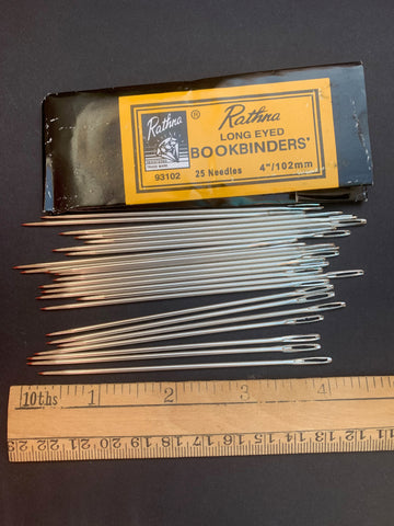 "Long Eyed BOOKBINDERS  - 4""/10CM Needles 25 in packet or 5 loose"
