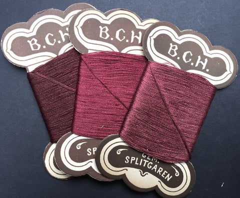 3 cards Vintage German Cotton Thread - Gorgeous Berry Colours..