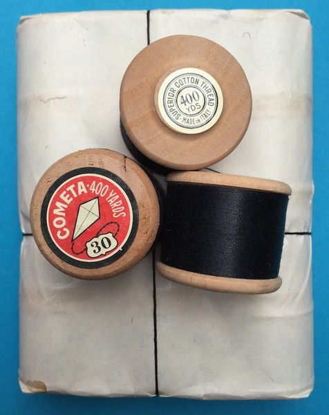 12 x 400yds Vintage thick Gauge 30 Black COMETA Brand Cotton Sewing Thread