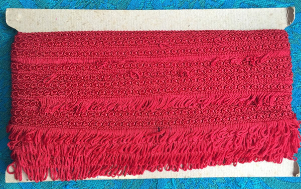 Vintage Red Made in England 1.8cm Red Fringing Trim