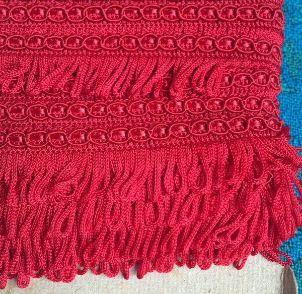 25m Vintage Red Made in England 1.8cm Red Fringing Trim