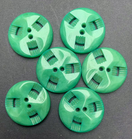 6 Gentle Fern Green 2.2cm Vintage French Casein Buttons