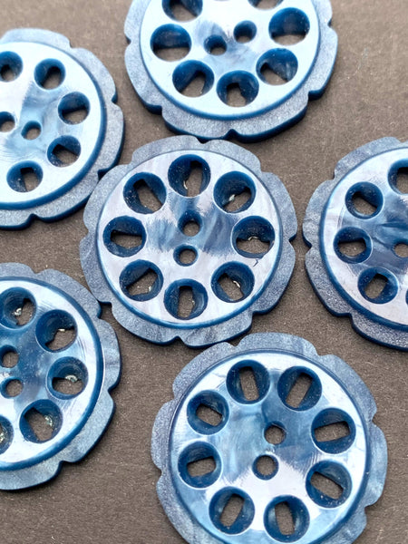 6 Steely Blue 2.2cm Vintage French Casein Buttons