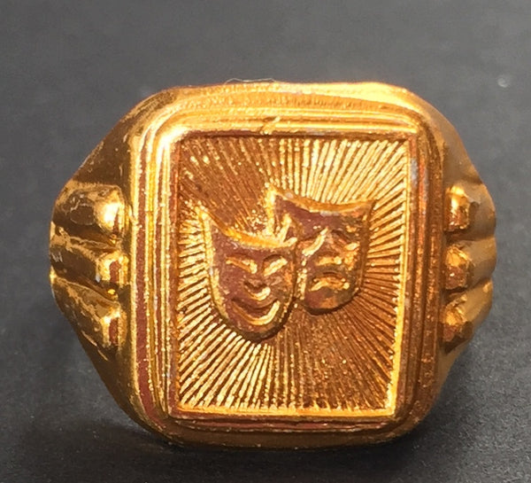 Vintage Comedy Tragedy Greek Theatre Masks Ring