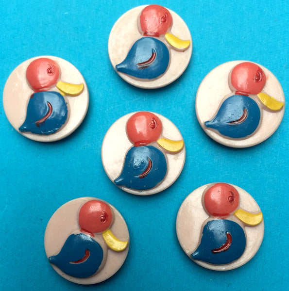 6 Vintage Italian Duck Buttons - 2cm wide- Pink Background