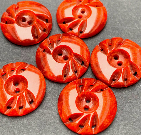 6 Vintage Toffee Caramel French Casein Buttons 1.7cm wide.