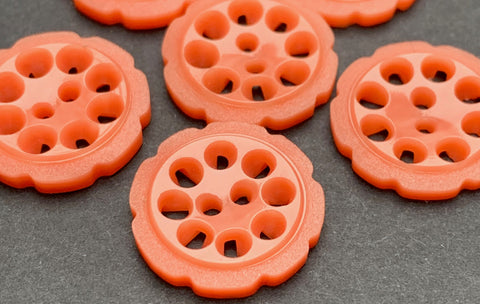 6 Coral Pink 2.2cm or 1.7cm Vintage French Casein Buttons