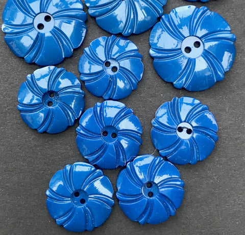 Lively Aegean Blue 1930s Casein Buttons 2.2cm or 1.7cm