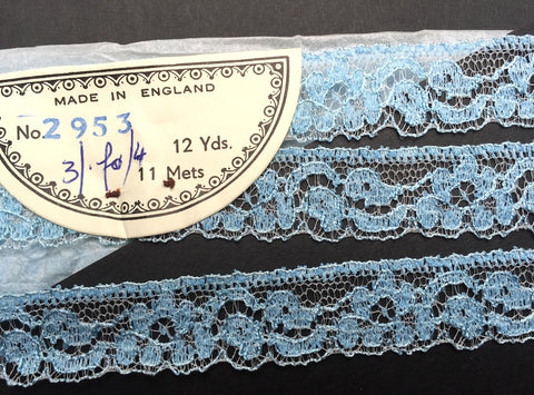 12 Yards Delicate Cornflower Blue Vintage Lace Trim 2cm Wide Made in England