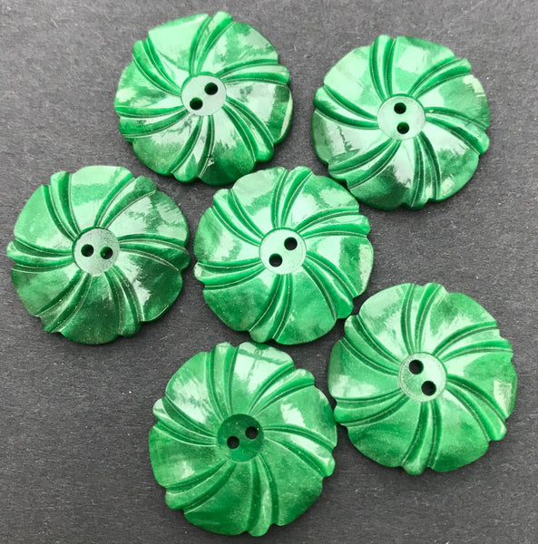 Emerald Green 1930s Casein Buttons 2.2cm or 1.7cm - Lots of 6 or Sheets of 24