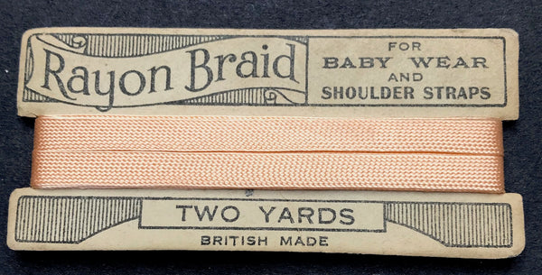 TWO YARDS BRITISH MADE Rayon Braid FOR BABY WEAR AND SHOULDER STRAPS