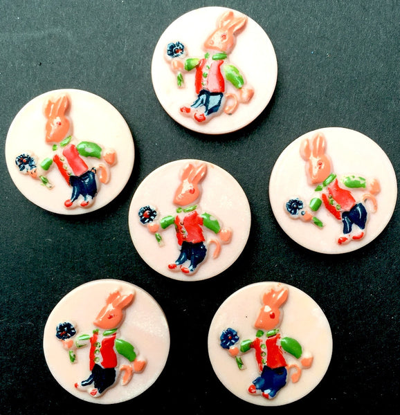 6 Vintage Italian 2cm Rabbit Buttons - Pink Background