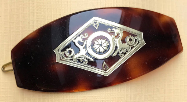 Sophisticated 1940s  French Lucite Tortoiseshell Hair Clip