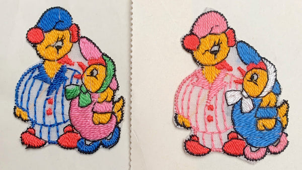 Sweet 1940s Father in Pyjamas and Daughter Ducks Applique - 5cm tall