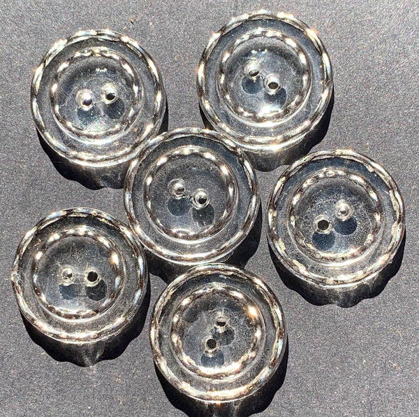 6 Splendid Silver Rimmed 1930s Glass 18mm or 15mm Buttons