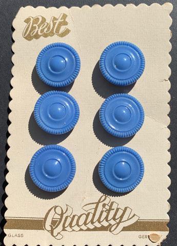 6 Gentle Blue Glass 1.8cm 1930s Buttons
