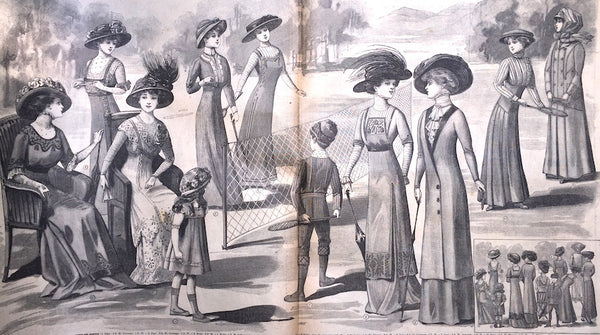 Edwardian Travelling and Tennis Clothes in 1909 French Fashion Paper Le Petit Echo de la Mode