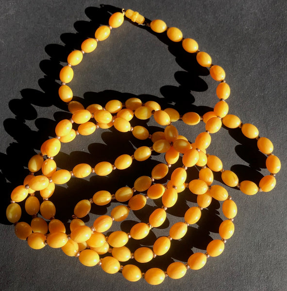 Glowing Golden Yellow Vintage Lucite Bead Necklace
