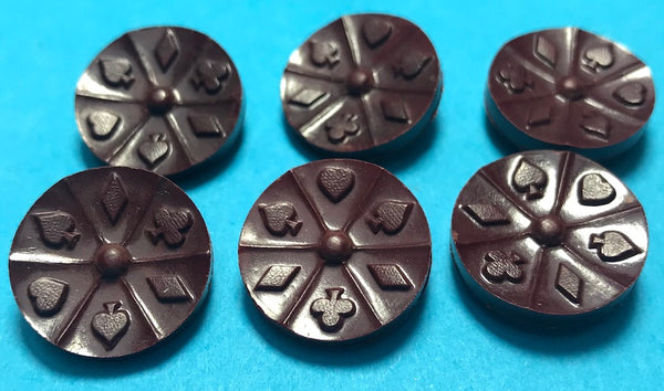 6  Bakelite Playing Card Buttons - 1.8cm wide