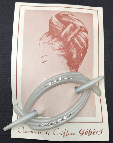 Charming French 1950s Diamante encrusted Hair Barrette