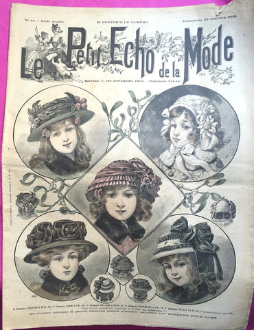 Gorgeous Edwardian Girls Hats on cover of 25th October 1908 French Le Petit Echo de la Mode