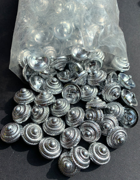 1 gross (144) of 12mm Vintage Silver Cone Buttons