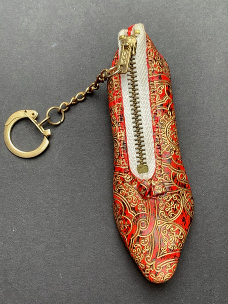 1960s Embossed or Beaded Shoe Purse Keyrings