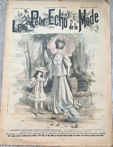 Tortoise on Cover of 121 yrs old June 1900 French Fashion PaperLe Petit Echo de la Mode - Lovely Illustrations