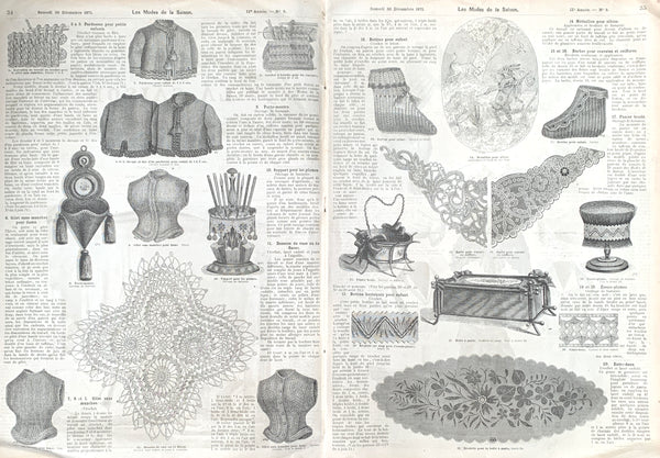 Fascinating December 1871 French Fashion Paper Les Modes de La Saison