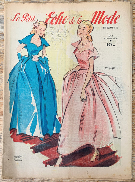 Charming Fashions and Interesting Crafts in January 1950 French Petit L'Echo de la Mode