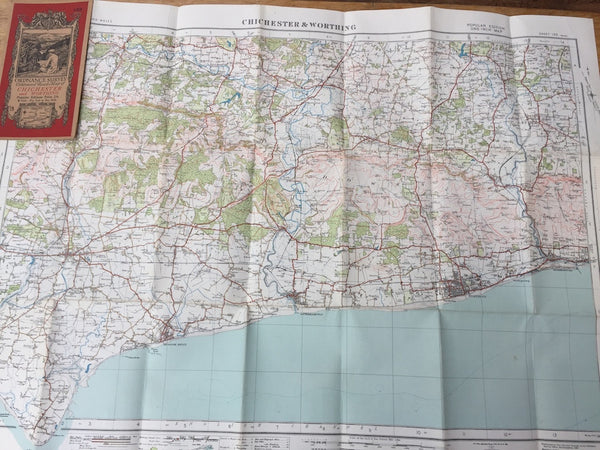 "Fascinating 1930s ORDNANCE SURVEY Contoured MAP of CHICHESTER and WORTHING 1"" to 1 Mile"