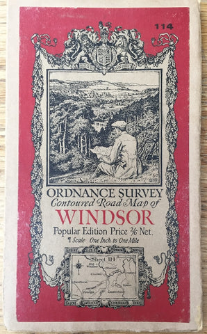 "1920s ORDNANCE SURVEY Contoured Road Map of WINDSOR and BERKSHIRE  incl Chiswick 1"" to 1 Mile"
