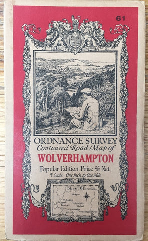 "1921 ORDNANCE SURVEY Contoured Road Map of WOLVERHAMPTON, Staffordshire & Shropshire. 1"" to 1 Mile"