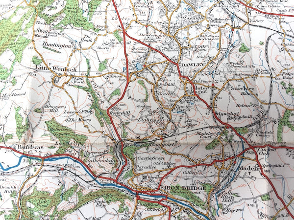 1921 ORDNANCE SURVEY Contoured Road Map of WOLVERHAMPTON