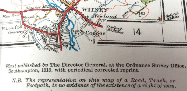 "1919 ORDNANCE SURVEY Contoured Road Map of STOW ON THE WOLD and DISTRICT 1"" to 1 Mile"