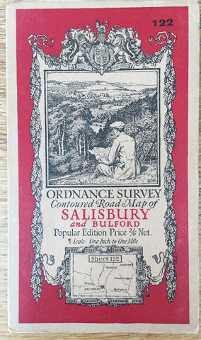 "1920s ORDNANCE SURVEY Contoured Road Map of SALISBURY and BULFORD 1"" to 1 Mile"