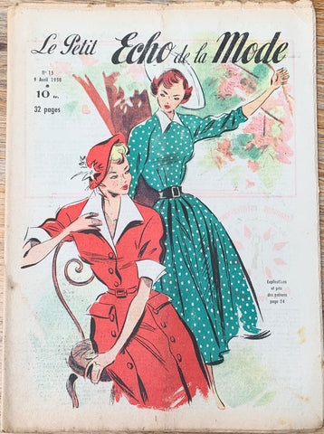 April 1950 Lovely Fashion Illustrations in French Petit L'Echo de la Mode